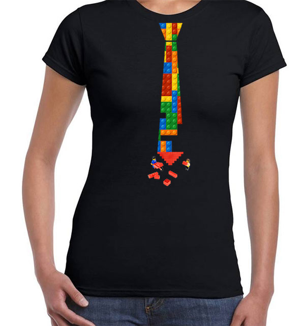 Camiseta negra con corbata - Mujer
